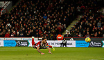 Billy Sharp of Sheffield Utd diving header during the Premier League match at Bramall Lane, Sheffield. Picture date: 5th December 2019. Picture credit should read: Simon Bellis/Sportimage