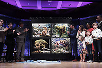"""Washington, DC - August 29, 2019: The U.S. Postal Service unveils four new Forever Stamps of Tyrannosaurus Rex (T. Rex) """"From Infancy to Adulthood"""" August 29, 2019 at Smithsonian's National Museum of Natural History Headquarters in Washington DC. (Photo by Lenin Nolly/Media Images International)"""