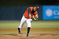 Kannapolis Intimidators relief pitcher Luis Ledo (39) follows through on his delivery against the Lakewood BlueClaws at Kannapolis Intimidators Stadium on April 8, 2017 in Kannapolis, North Carolina.  The BlueClaws defeated the Intimidators 8-4 in 10 innings.  (Brian Westerholt/Four Seam Images)
