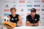 The Hague, Netherlands, June 08: Dean Couzins #8 of New Zealand and Head coach Colin Batch of New Zealand during the press conference after the field hockey group match (Men - Group B) between the Black Sticks of New Zealand and Germany on June 8, 2014 during the World Cup 2014 at Kyocera Stadium in The Hague, Netherlands. Final score 3-5 (1-3) (Photo by Dirk Markgraf / www.265-images.com) *** Local caption ***