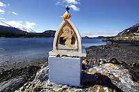 Madonna figure at the end of the Panamericana road from Alaska to Argentina near Ushuaia in Fireland.<br /> 27.10.2000, Fireland<br /> Copyright: Christian-Ditsch.de<br /> [Inhaltsveraendernde Manipulation des Fotos nur nach ausdruecklicher Genehmigung des Fotografen. Vereinbarungen ueber Abtretung von Persoenlichkeitsrechten/Model Release der abgebildeten Person/Personen liegen nicht vor. NO MODEL RELEASE! Nur fuer Redaktionelle Zwecke. Don't publish without copyright Christian-Ditsch.de, Veroeffentlichung nur mit Fotografennennung, sowie gegen Honorar, MwSt. und Beleg. Konto: I N G - D i B a, IBAN DE58500105175400192269, BIC INGDDEFFXXX, Kontakt: post@christian-ditsch.de<br /> Urhebervermerk wird gemaess Paragraph 13 UHG verlangt.](Christian Ditsch/version)