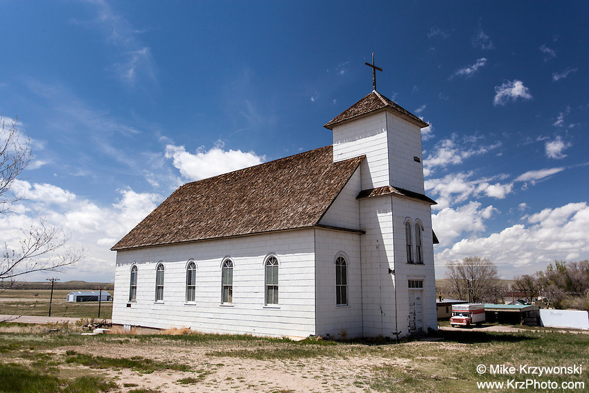 Old abandoned church building in Matheson, CO