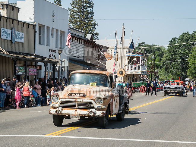 The Superheros Have Arrived, the theme for the 139th annual Ione Homecoming Parade and celebration, Main Street,  Ione, Calif.