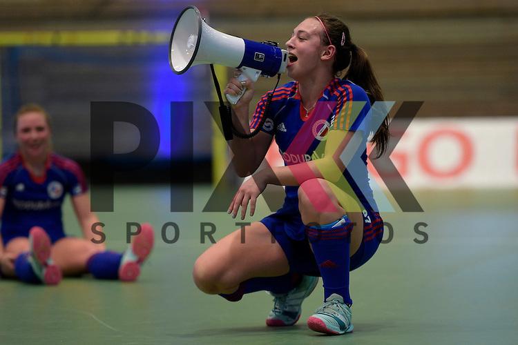 GER - Luebeck, Germany, February 06: After the 1. Bundesliga Damen indoor hockey semi final match at the Final 4 between Rot-Weiss Koeln (white) and Mannheimer HC (blue) on February 6, 2016 at Hansehalle Luebeck in Luebeck, Germany. Final score 1-2 (HT 0-2).   Julia Meffert #97 of Mannheimer HC<br /> <br /> Foto &copy; PIX-Sportfotos *** Foto ist honorarpflichtig! *** Auf Anfrage in hoeherer Qualitaet/Aufloesung. Belegexemplar erbeten. Veroeffentlichung ausschliesslich fuer journalistisch-publizistische Zwecke. For editorial use only.