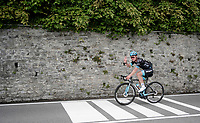 About an hour before the race, Team Astana manager Alexander Vinokourov rides the course towards the finish.<br /> <br /> Stage 15: Ivrea to Como (232km)<br /> 102nd Giro d'Italia 2019<br /> <br /> ©kramon