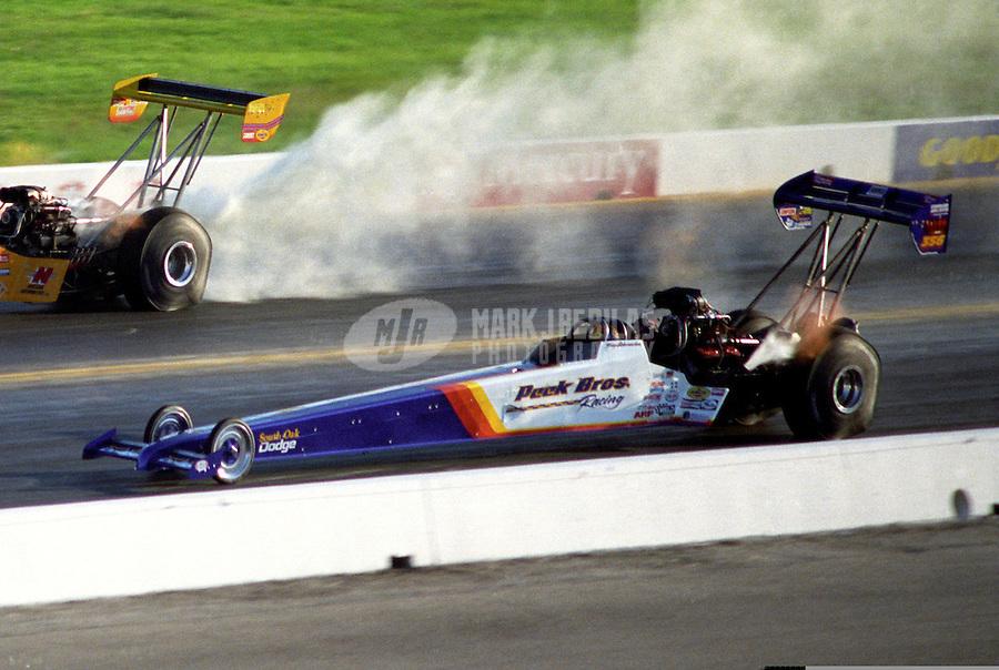 Oct. 19, 1997; Ennis, TX, USA; NHRA top fuel dragster driver Tony Schumacher during the Revell Nationals at the Texas Motorplex. Mandatory Credit: Mark J. Rebilas-