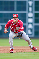 Nebraska Cornhuskers third baseman Blake Headley (22) on defense during Houston College Classic against the Texas A&M Aggies on March 6, 2015 at Minute Maid Park in Houston, Texas. Texas A&M defeated Nebraska 2-1. (Andrew Woolley/Four Seam Images)