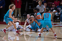 STANFORD, CA - December 4, 2016: Dijonai Carrington, Marta Sniezek at Maples Pavilion. Stanford defeated UC Davis, 68-42. The Cardinal wore turquoise uniforms to honor Native American Heritage Month