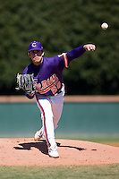 Pitcher Matt Zoltak (20) of the Clemson Tigers in action versus the Wake Forest Demon Deacons during the second game of a double header at Gene Hooks Stadium in Winston-Salem, NC, Sunday, March 9, 2008.