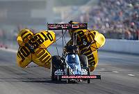 Sept. 29, 2012; Madison, IL, USA: NHRA top fuel dragster driver Steve Torrence during qualifying for the Midwest Nationals at Gateway Motorsports Park. Mandatory Credit: Mark J. Rebilas-