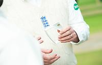 Picture by Allan McKenzie/SWpix.com - 20/04/2018 - Cricket - Specsavers County Championship - Yorkshire County Cricket Club v Nottinghamshire County Cricket Club - Emerald Headingley Stadium, Leeds, England - Bat measuring gauge, MCC, bats, gauge.