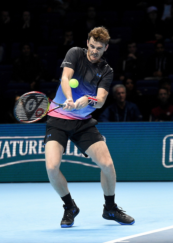 Jamie Murray in action with his partner Bruno Soares against Juan Sebastian Cabal and Robert Farah<br /> <br /> Photographer Hannah Fountain/CameraSport<br /> <br /> International Tennis - Nitto ATP World Tour Finals Day 3 - O2 Arena - London - Tuesday 13th November 2018<br /> <br /> World Copyright © 2018 CameraSport. All rights reserved. 43 Linden Ave. Countesthorpe. Leicester. England. LE8 5PG - Tel: +44 (0) 116 277 4147 - admin@camerasport.com - www.camerasport.com