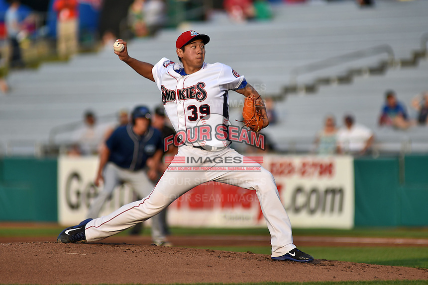 Tennessee Smokies starting pitcher Dae-Eun Rhee #39 delivers a pitch during a game against the Mobile BayBears at Smokies Park on May 23, 2014 in Kodak, Tennessee. The BayBears defeated the Smokies 7-1. (Tony Farlow/Four Seam Images)