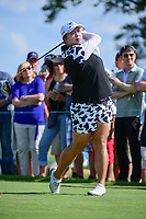 Shanshan Feng (CHN) watches her tee shot on 10 during Sunday's final round of the 72nd U.S. Women's Open Championship, at Trump National Golf Club, Bedminster, New Jersey. 7/16/2017.<br /> Picture: Golffile | Ken Murray<br /> <br /> <br /> All photo usage must carry mandatory copyright credit (&copy; Golffile | Ken Murray)