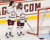 Meghan Grieves (BC - 17), Haley McLean (BC - 13) - The Boston College Eagles defeated the visiting Providence College Friars 7-1 on Friday, February 19, 2016, at Kelley Rink in Conte Forum in Boston, Massachusetts.