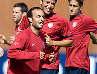 USA's Landon Donovan laughs during practice in Hamburg, Germany, for the 2006 World Cup, June, 9, 2006.