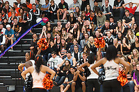 Occidental College students participate in the annual Homecoming Pep Rally in Rush Gym on Oct. 28, 2011. (Photo by Marc Campos, Oxy College Photographer)