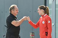 Anderlecht's head coach Patrick Wachel (L) and Zulte Waregem's defender Sheryl Merchiers (R) pictured during a female soccer game between SV Zulte - Waregem and RSC Anderlecht Dames on the second matchday of the 2020 - 2021 season of Belgian Scooore Women s SuperLeague , saturday 5 th of September 2020  in Zulte , Belgium . PHOTO SPORTPIX.BE | SPP | DIRK VUYLSTEKE