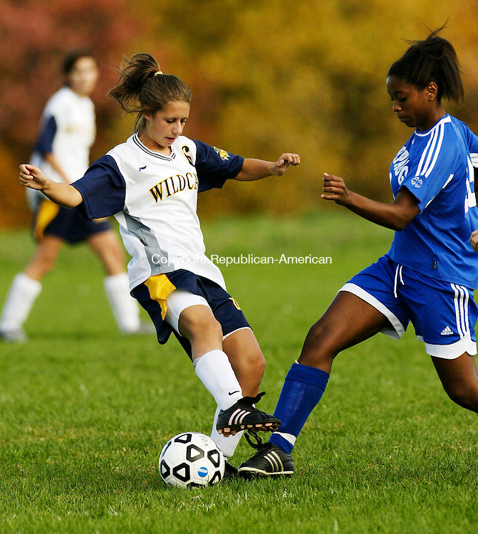 TORRINGTON, CT 10/22/07- 102207BZ06- Oliver Wolcott Tech's Ashlee Pekar (6) battles Shepaug's Courtney Hays (13) during their game Monday.<br /> Jamison C. Bazinet Republican-American