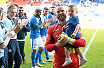 St Johnstone v Ross County&hellip;12.05.18&hellip;  McDiarmid Park    SPFL<br />Alan Mannus and son Mason are applauded off the pitch<br />Picture by Graeme Hart. <br />Copyright Perthshire Picture Agency<br />Tel: 01738 623350  Mobile: 07990 594431