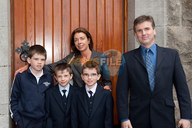 Saul and Morgan O'Reilly who made their First Communion Saturday in Termonfeckin Church, pictured with Toddy and Joanna McGinley and Craig Watson. Picture: Newsfile/Mark Carroll. Picture: Newsfile/Mark Carroll.