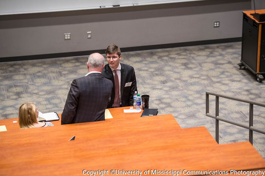 Ole Miss student Jacob Nedza participates in the Speaker's Edge competition.  Photo by Kevin Bain/University Communications Photography