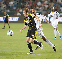 Columbus Crew midfielder Brain Carroll (16) races to get to the ball during the second half of the game between LA Galaxy and the Columbus Crew at the Home Depot Center in Carson, CA, on September 11, 2010. LA Galaxy 3, Columbus Crew 1.