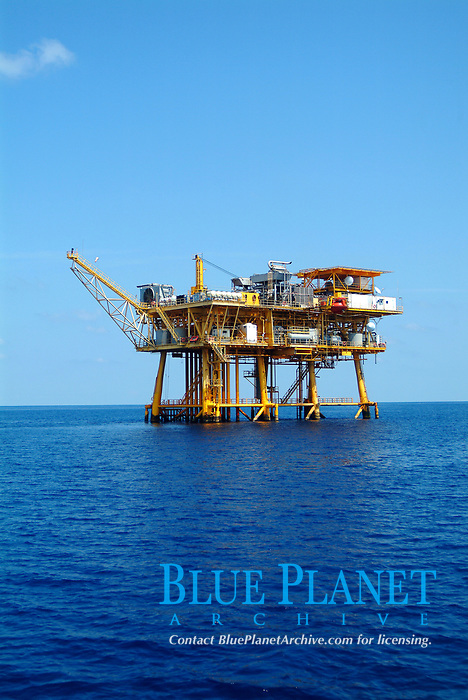 Pylons and legs of a gas rig platform above water in Flower Garden bank sanctuary in the Gulf of Mexico, off Texas coast, USA, United states