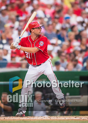 23 July 2016: Washington Nationals starting pitcher Max Scherzer at bat against the San Diego Padres at Nationals Park in Washington, DC. The Nationals defeated the Padres 3-2 to tie their series at one game apiece. Mandatory Credit: Ed Wolfstein Photo *** RAW (NEF) Image File Available ***