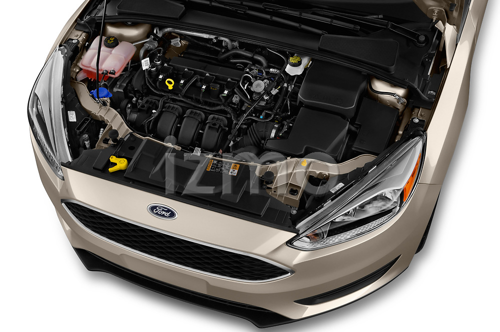 Car Stock 2018 Ford Focus SE 5 Door Hatchback Engine  high angle detail view