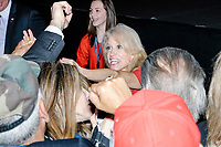 Campaign manager Kellyanne Conway greets the crowd after President-elect Donald Trump spoke in the ballroom in the Midtown Hilton at the election night victory rally for Republican presidential nominee Donald Trump, after the presidential race was called for Trump in the early hours of Nov. 9, 2016.