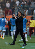 Calcio, Serie A: Lazio vs Roma. Roma, stadio Olimpico, 25 maggio 2015.<br /> Roma's coach Rudi Garcia gestures during the Italian Serie A football match between Lazio and Roma at Rome's Olympic stadium, 25 May 2015.<br /> UPDATE IMAGES PRESS/Isabella Bonotto