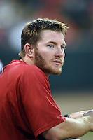 Oklahoma City RedHawks outfielder Robbie Grossman (4) in the dugout during a game against the Memphis Redbirds on May 23, 2014 at AutoZone Park in Memphis, Tennessee.  Oklahoma City defeated Memphis 12-10.  (Mike Janes/Four Seam Images)