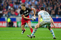 Owen Farrell of Saracens looks to pass the ball. European Rugby Champions Cup Final, between Saracens and Racing 92 on May 14, 2016 at the Grand Stade de Lyon in Lyon, France. Photo by: Patrick Khachfe / Onside Images