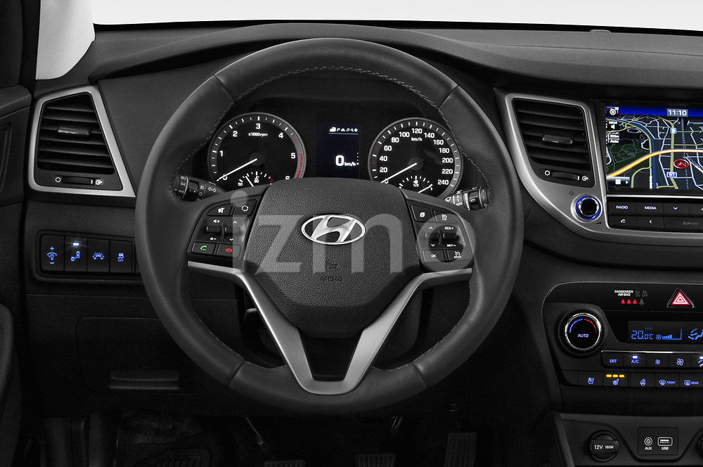 Car pictures of steering wheel view of a 2018 Hyundai Tucson Executive 5 Door SUV
