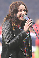 Amy Macdonald singing Flower of Scotland before the Scotland v Macedonia FIFA World Cup Qualifying match at Hampden Park, Glasgow on 11.9.12.