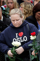 (Oslo July 25, 2011) An estimated 150,000 people gathered in Oslo town centre for a vigil following Friday's twin extremist attacks ...A large vehicle bomb was detonated near the offices of Norwegian Prime Minister Jens Stoltenberg on 22 July 2011. .Another terrorist attack took place shortly afterwards, where a man killed 68 people, mainly children and youths attending a political camp at Utøya island. ..Anders Behring Breivik was arrested on the island and has admitted to carrying out both attacks..(photo:Fredrik Naumann/Felix Features)