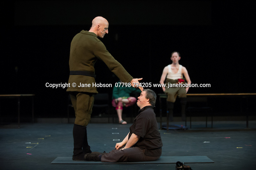 Edinburgh, UK. 09.08.2014.  GANESH VERSUS THE THIRD REICH, presented by Australian company, Back to Back Theatre, opens at the Royal Lyceum Theatre, as part of the Edinburgh International Festival. Picture shows:  David Woods (standing), Mark Deans (sitting), with Brian Tilley and Simon Laherty behind. Photograph © Jane Hobson.