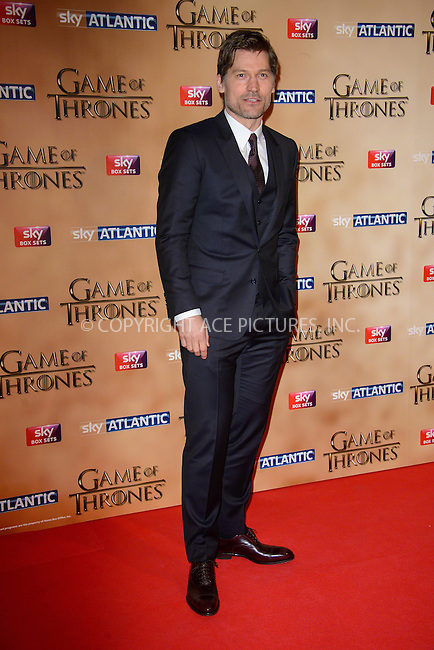 WWW.ACEPIXS.COM<br /> <br /> March 18 2015, London<br /> <br /> Nicolas Coster-Waldau arriving at the world premiere of Game of Thrones Season 5 at the Tower of London on March 18 2015 in London.<br /> <br /> By Line: Famous/ACE Pictures<br /> <br /> <br /> ACE Pictures, Inc.<br /> tel: 646 769 0430<br /> Email: info@acepixs.com<br /> www.acepixs.com