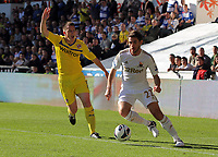 Saturday, 06 October 2012<br /> Pictured: of Swansea of Reading<br /> Re: Barclays Premier League, Swansea City FC v Reading at the Liberty Stadium, south Wales.<br /> Angle Rangel (R) Nicky Shorey of Reading (L)
