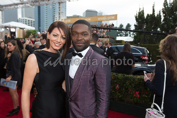 Jessica and David Oleyowo attend the 73rd Annual Golden Globes Awards at the Beverly Hilton in Beverly Hills, CA on Sunday, January 10, 2016. Photo Credit: HFPA/AdMedia