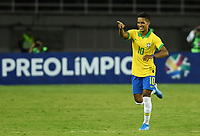 PEREIRA - COLOMBIA, 22-01-2020: Pedrinho Pedro Delmino de Brasil celebra después de anotar el primer gol de su equipo durante partido entre Brasil y Uruguay por la fecha 2, grupo B, del CONMEBOL Preolímpico Colombia 2020 jugado en el estadio Hernan Ramirez Villegas en Pereira, Colombia. / Pedrinho Pedro Delmino of Brazil celebrates after scoring the first goal of his team during the match between Brazil and Uruguay for the date 2, group B, for the CONMEBOL Pre-Olympic Tournament Colombia 2020 played at Hernan Ramirez Villegas stadium in Pereira, Colombia. Photo: VizzorImage / Julian Medina / Cont