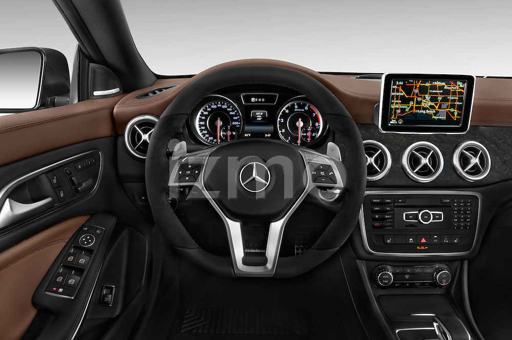 Car pictures of steering wheel view of a 2014 Mercedes Benz CLA Class 45 AMG 4 Door Sedan