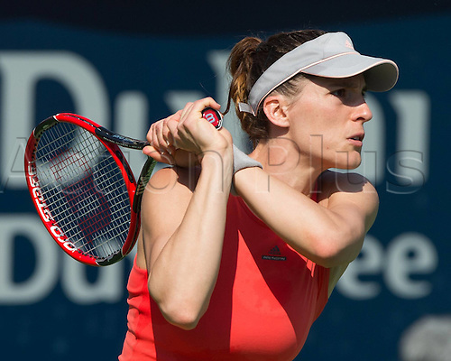 18.02.2016. Dubai, United Arab Emirates.  Andrea Petkovic (GER) loses to C Garcia (FRA) at the Dubai Tennis Championships 2016 WTA
