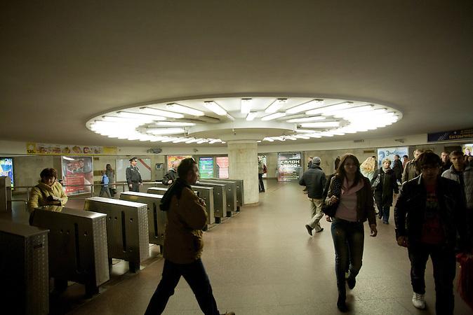 BESCHREIBUNG_BY / Belarus / Minsk / 06.10.2011 / in einer U-Bahnstation in Minsk. Stadtansichten von Minsk.