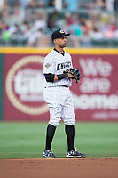 Charlotte Knights shortstop Ronald Bueno (16) on defense against the Indianapolis Indians at BB&T BallPark on June 16, 2017 in Charlotte, North Carolina.  The Knights defeated the Indians 12-4.  (Brian Westerholt/Four Seam Images)