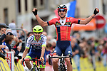 Dylan Teuns (BEL) Bahrain-Merida wins the sprint for the finish ahead of Guillaume Martin (FRA) Wanty-Gobert at the end of Stage 2 of the Criterium du Dauphine 2019, running 180km from Mauriac to Craponne-sur-Arzon, France. 9th June 2019<br /> Picture: ASO/Alex Broadway | Cyclefile<br /> All photos usage must carry mandatory copyright credit (© Cyclefile | ASO/Alex Broadway)