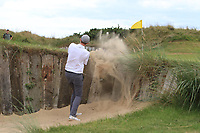 Eugene Smith (Laytown &amp; Bettystown) in a bunker on the 7th during the 1/4 Finals of the AIG Irish Close Championship at the European Club, Brittas Bay, Wicklow, Ireland on Monday 6th August 2018.<br /> Picture: Thos Caffrey / Golffile<br /> <br /> All photo usage must carry mandatory copyright credit (&copy; Golffile | Thos Caffrey)