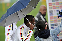 BOGOTA - COLOMBIA  - 25 – 03 – 2017: Duvan Zapata (Izq.) jugador de la Seleccion Colombia, durante entrenamiento en La sede de La Federacion Colombiana de Futbol en Bogota. Colombia prepara para el próximo partido partido contra Ecuador para la calificificacion a la Copa Mundo FIFA 2018 Rusia. / Duvan Zapata (L) player of the Colombia Team, during training at the Headquarters of the Colombian Football Federation in Bogota. Colombia prepares for the upcoming game match against Ecuador for calificificacion to FIFA World Cup 2018 Russia. (Photo: VizzorImage / Luis Ramirez / Staff.)