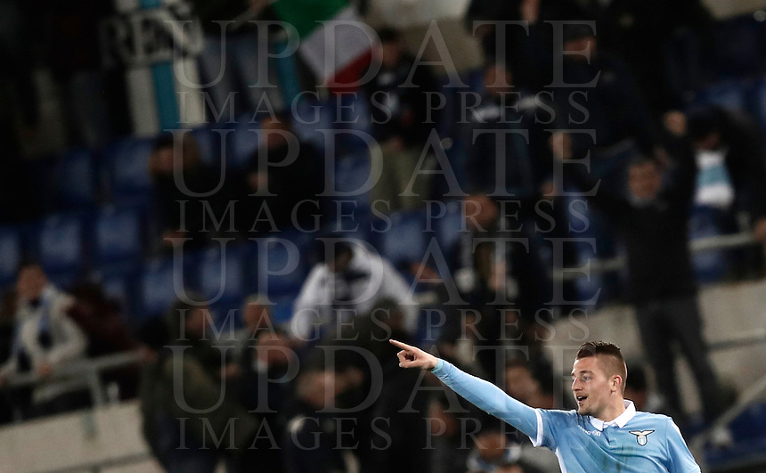 Calcio, Serie A: Roma, stadio Olimpico, 1marzo 2017.<br /> Lazio's Sergej Milinkovic celebrates after scoring during the Italian TIM Cup 1st leg semifinal football match between Lazio and AS Roma at Rome's Olympic stadium, on March 1, 2017.<br /> UPDATE IMAGES PRESS/Isabella Bonotto